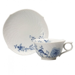 Blue Onion Vine Relief Tea Cup and Saucer