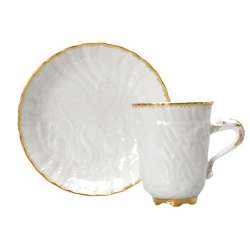 Swan Service Gold Filet Coffee Cup and Saucer