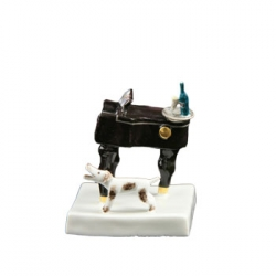 Piano with Dog Figurine