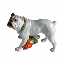 Bulldog with Doll Figurine