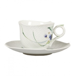 Meissen Waves Relief Woodland Flora Breakfast Cup & Saucer The history of porcelain manufacturing in Europe begins in Meissen, Germany near Dresden, the cradle of European porcelain. Apart from the short-lived production of the Medici factory in Florence in the 1560's, Meissen was the first successful producer of hard-paste porcelain - or true porcelain - in Europe. Meissen's products, and those of its imitators, who came later, destroyed the supremacy of the oriental porcelain that had held a virtual monopoly in the world since Marco Polo opened the china trade in 1295. 