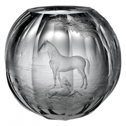 Mare & Foal Engraved Globe Vase