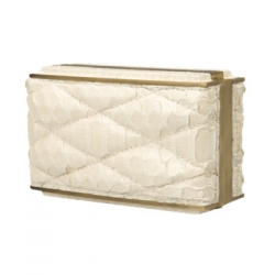 White Glazed Python Padded Minaudiere Clutch :  cluch minaudiere white bag