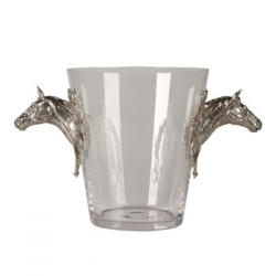 Glass Ice Bucket with Horsehead Handles