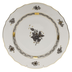 Chinese Bouquet Black Dinner Plate