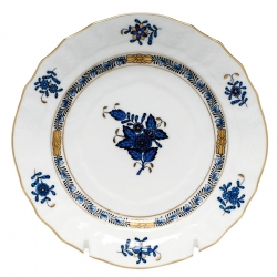 Chinese Bouquet Black Sapphire Dinner Plate