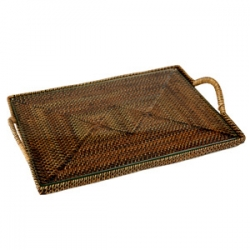 Rattan Rectangular Flat Tray w/glass