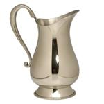 Classic Pewter Pitcher The striking simplicity of this pewter pitcher makes it an instant classic.  The bright finish and wonderfully shaped handle allows this pitcher to stand on its own, or may be enhanced with an initial or monogram.  A truly stunning piece it lends itself to a variety of gift giving occasions, house warming, hospitality, wedding or anniversary.