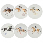 Set of 6 Equestrian Dessert Plates