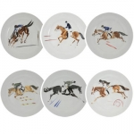Set of 6 Equestrian Dinner Plates