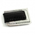 Black Crocodile Leather Magnetic Money Clip