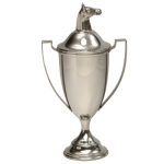 Pewter Covered Loving Cup w/Horsehead The traditional styling of this Loving Cup makes it a standout in any trophy case!  With ample space for engraving up to 10 lines of text and /or logo or monogram and different sizes and finials available, it can be used for many different awards programs, such as golfing tournaments, achievement awards, and horse related events.