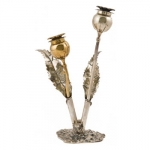 Sterling and Vermeil Thistle Salt & Pepper Shaker Set