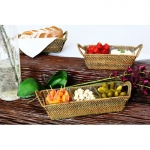 Rattan Rectangular Tray with Two Glass Dishes