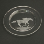 Small Plate/Wine Coaster Engraved with RacingTthoroughbred