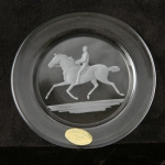 Small Plate/Wine Coaster Engraved with Currier and Ives Trotter