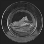 Small Plate/ Wine Coaster with Engraved Foal in Grass Image