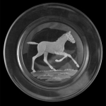 Small Plate/Wine Coaster with Engraved Running Foal