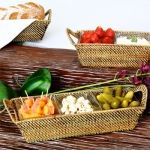 Rattan Rectangular 3-section Glass Server