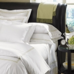 Sferra Grande Hotel White/Chocolate Standard Pillowcase Pair
