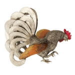 Sterling Silver and Enameled Rooster Figurine-R