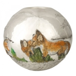 Sterling Silver and Enameled Round Vase with Foxes
