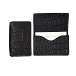 Black Embossed Crocodile Card Case