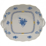 Chinese Bouquet Blue Square Cake Plate with Handles