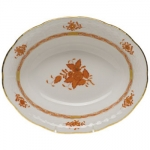 Chinese Bouquet Rust Oval Vegetable Dish