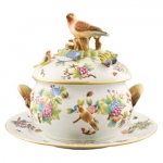 Herend Golden Anniversary Tureen and Platter In this spectacular limited edition set, the masters at Herend celebrate the two most famous patterns in the manufactory\'s storied past.  Herend\'s most prominent customers, Queen Victoria and the Rothschild family, each enjoyed a specially created pattern.  This gorgeous tureen and platter feature key elements of each pattern, \Queen Victoria\ and \Rothschild Bird,\ in an unprecedented union.  Two separate artists, each a master of their respective pattern, hand-paint their part and then sign the piece.  An incredible commemoration of Herend\'s Golden Anniversary of distribution in the United States.