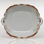 Princess Victoria Rust Square Cake Plate with Handles