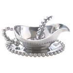 Pearled Gravy Boat Set Mariposa\'s fine metal is handcrafted from 100% recycled aluminum.