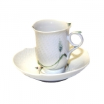 Meissen Waves Relief Woodland Flora Cup And Saucer