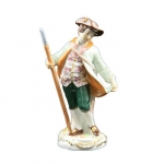 Meissen Boy With Shepherds Staff Gardener Children