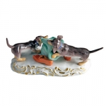 Meissen Dachsunds with hat FIGURE.