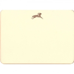 The Printery Dark Brown Equestrian on Ecru Card with Hot Orange Bevelled Edge and Hot Orange Tissue Envelope Lining Note Cards 6 7/8\ x 4 5/8
