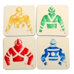 Silks Set/4 Square Coasters