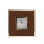 Leather Clock Basket Weave 6 x 6\
