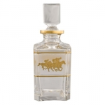Square Decanter with Gold Horses