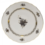 Chinese Bouquet Black Dessert Plate
