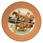 Tumble Salad Plate Steeplechase Collection Another charming exclusive from L.V. Harkness, taken from antique prints found in a favorite print shop in Paris.  The perfect pattern for casual entertaining, equestrian enthusiast or not!