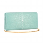 Shagreen Sky Blue Clutch