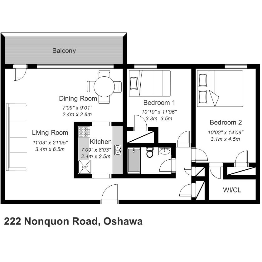 Two Bedroom Apartment Oshawa: Bedford Living