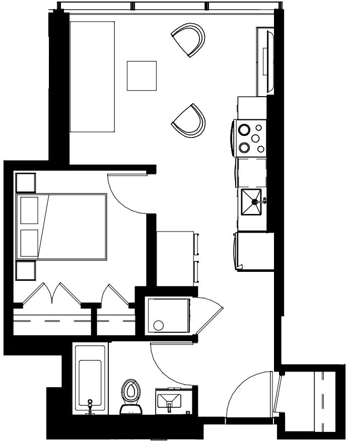 One Bedroom Floorplan