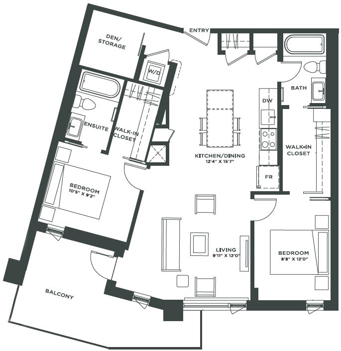 Two Bedroom + Den Floorplan