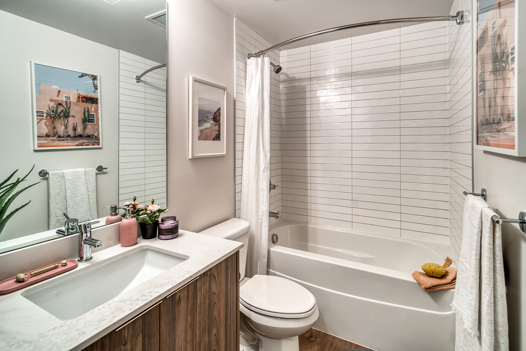 Full-Size Soaker Tub With Full Height Porcelain Wall Tiles