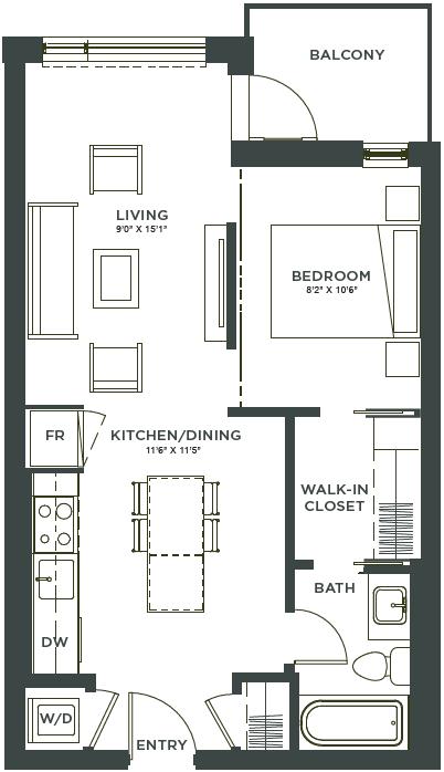 One Bedroom, One Bathroom Floorplan