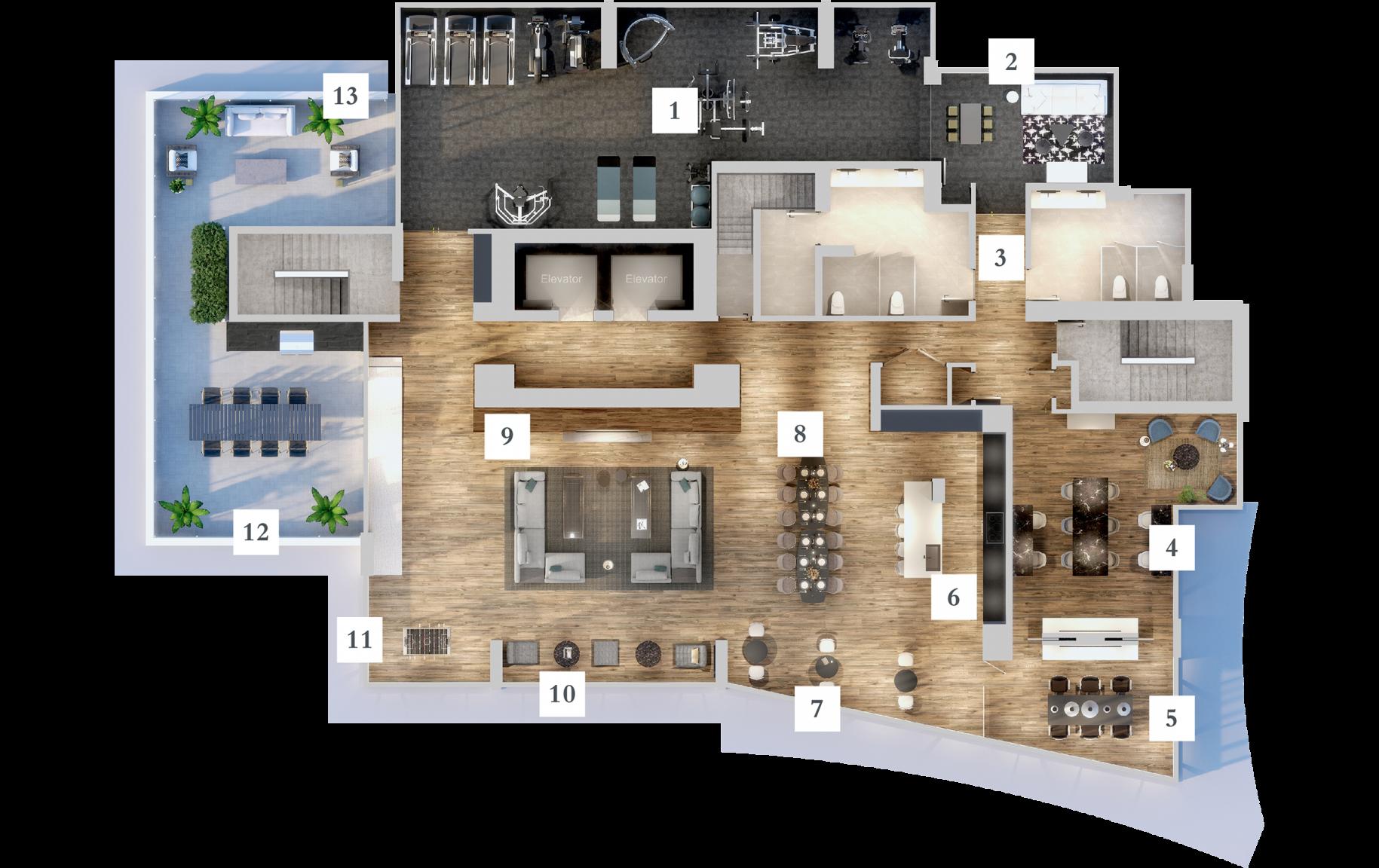 Render of amenities on level 22