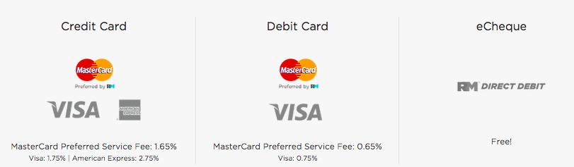 CLV Group et RentMoola Tarification pour le débit, le crédit et l'eCheque