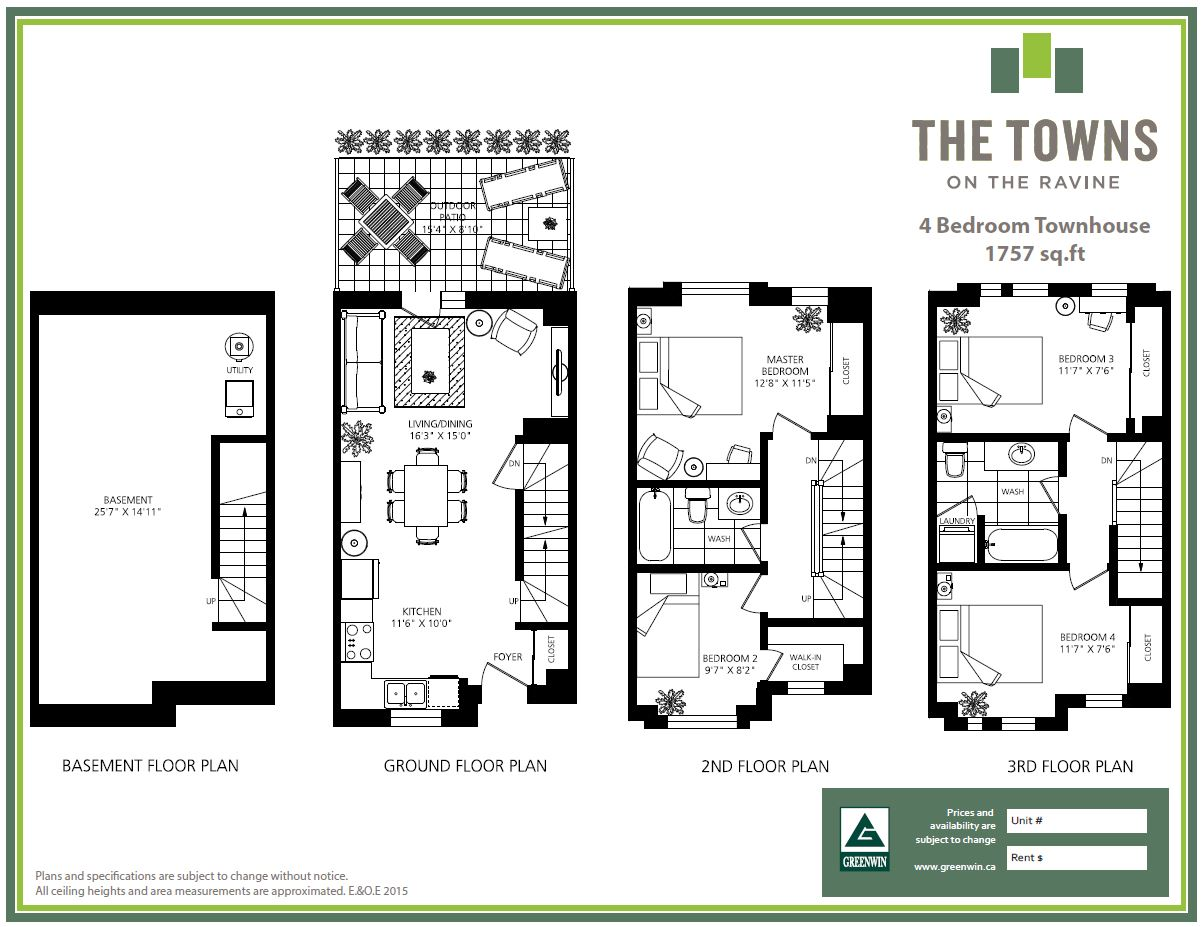 The towns on the ravine greenwin for 3 bedroom townhouse plans